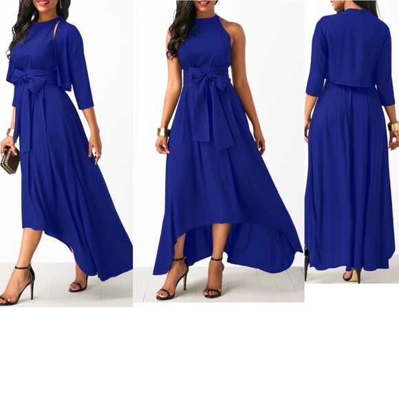 best online choose official new specials Royal Blue Asymmetric Hem Dress and Cardigan